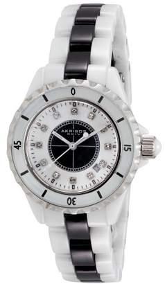 Akribos XXIV Women's AKR485WTB Ceramic Bracelet Diamond Watch