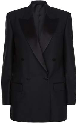 Burberry Double-Breasted Satin Lapel Blazer