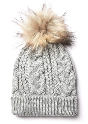 David & Young Cable Knit Sherpa Lined Pom Beanie