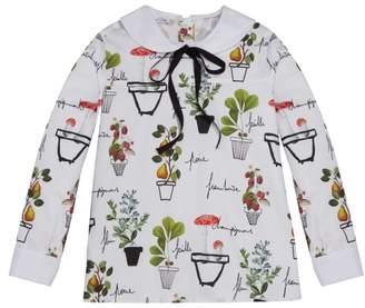 Oscar de la Renta Flower Pots On Cotton Blouse With Collar