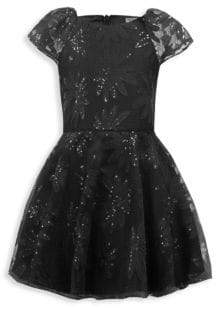David Charles Girl's Sequined Techno Floral Dress
