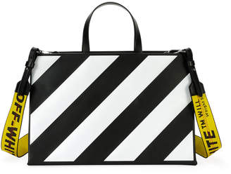 Off-White Off White Medium Diagonal-Stripe Box Tote Bag