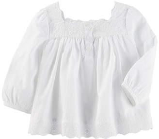 Osh Kosh Oshkosh Round Neck Long Sleeve Blouse - Baby Girls