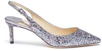 Jimmy Choo 'Erin 60' coarse glitter leather slingback pumps