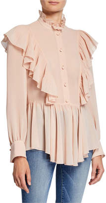 See by Chloe Mock-Neck Long-Sleeve Button-Down Ruffle Top