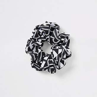 River Island Black RI print scrunchie