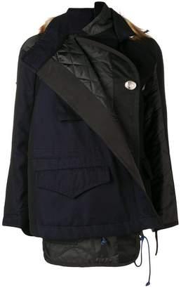 Sacai faux fur trim layered jacket