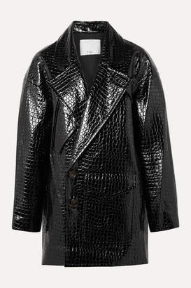 Tibi Oversized Croc-effect Faux Patent-leather Coat - Black