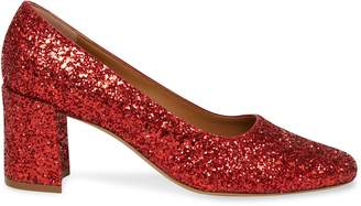 Mansur Gavriel Glitter Square Toe Heel - Flamma
