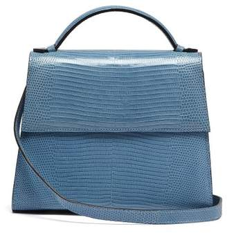 Hunting Season - Mini Top Handle Lizard Skin Bag - Womens - Light Blue