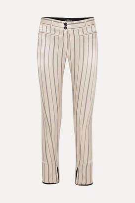 Ann Demeulemeester Cropped Striped Cotton-blend Satin Slim-leg Pants - Ecru