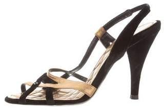 Chanel Metallic Multistrap Sandals