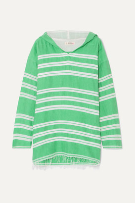 Lemlem + Net Sustain Doro Frayed Striped Cotton-blend Gauze Hoodie - Light green