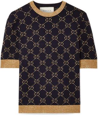 Gucci Metallic Cotton-blend Jacquard Sweater - Navy