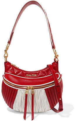 Miu Miu Quilted And Matelassé Leather Shoulder Bag - Red