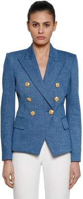 Balmain Double Breasted Cotton Denim Blazer