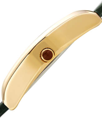 Bruno Magli Chiara Oval Watch w/ Croco Strap, Green/Gold