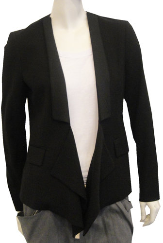 3.1 Phillip Lim Tuxedo Draped Overlap Blazer In Black