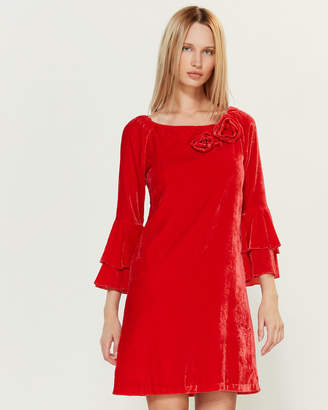 Blugirl Velvet Rosette Bell Sleeve Dress