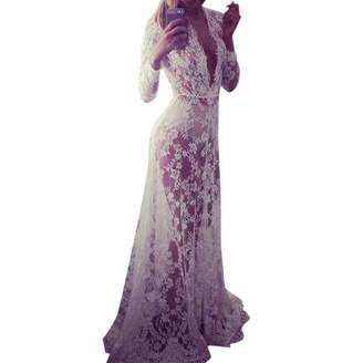 WINSON Summer Sexy V Neck Women See Through Long Maxi Dress White Lace Long Sleeve (XXL, )