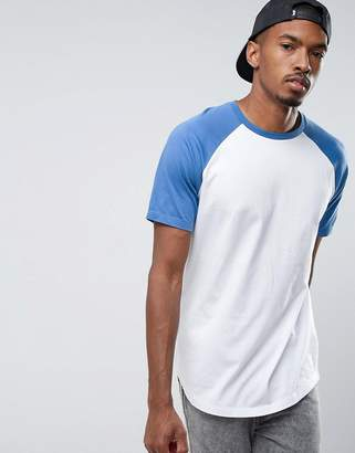 Asos Longline T-Shirt With Contrast Raglan And Curved Hem