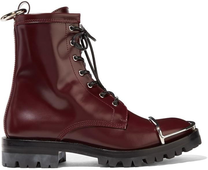 Alexander WangAlexander Wang Lyndon embellished glossed-leather ankle boots