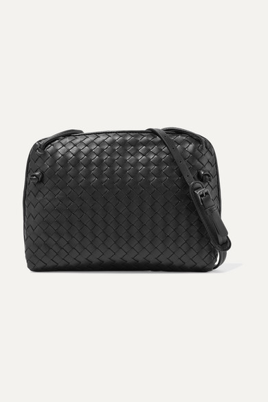 Bottega Veneta - Messenger Small Intrecciato Leather Shoulder Bag - Black