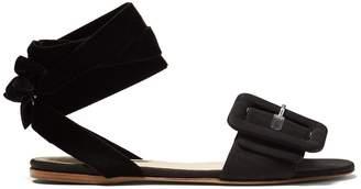 Jole buckle-strap velvet-tie flat sandals