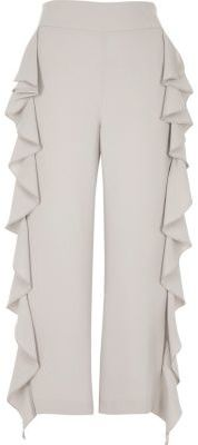 River IslandRiver Island Womens Grey cropped ruffle wide leg pants