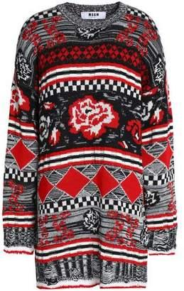 MSGM Oversized Intarsia Wool-blend Sweater