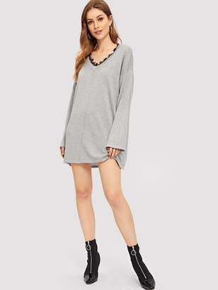 Shein Eyelash Lace Neck Marled Knit Dress