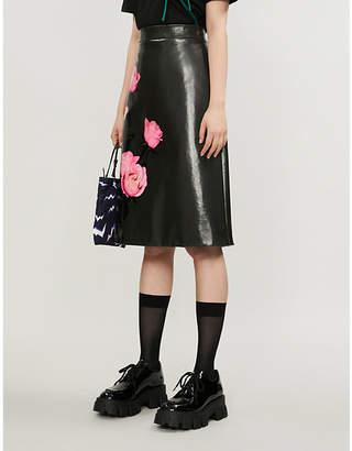 Prada Floral-print leather A-line skirt