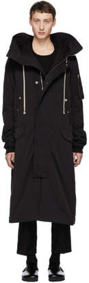 Rick Owens Black Hooded Long Coat