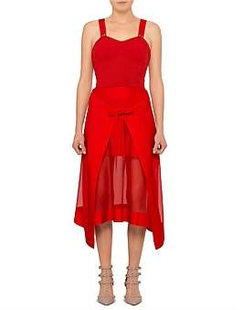 Alexander McQueen Lightweight Sleeveless Knit Dress With Tie Front Skirt