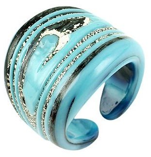 Murano Antica Murrina Cayman - Turquoise and Silver Glass Ring