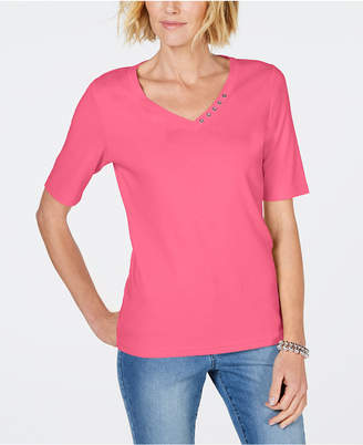 Karen Scott Cotton Rhinestone-Neck T-Shirt