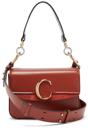 Chloé The C Leather And Suede Shoulder Bag - Womens - Tan