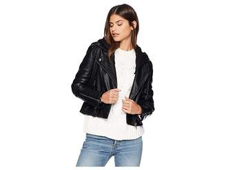 Blank NYC Black Vegan Leather Jacket with Hooded Detail in Neo