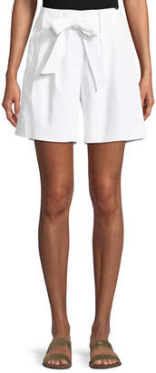 St. John Linen Twill Tie-Front Shorts