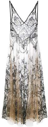 I.D. Sarrieri I.D.Sarrieri floral embroidery sheer nightgown