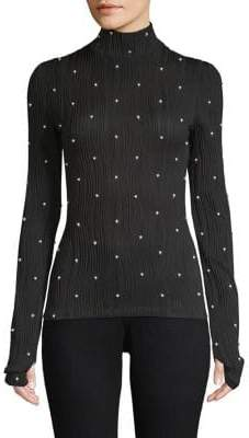 Prabal Gurung Faux-Pearl Ribbed Jersey Turtleneck