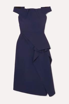 Roland Mouret Arch Off-shoulder Draped Crepe Dress - Navy