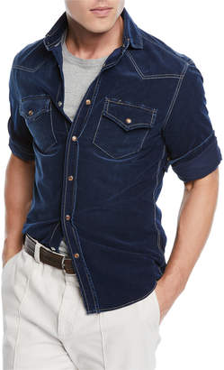 Brunello Cucinelli Men's Leisure-Fit Denim Sport Shirt
