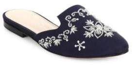 Oscar de la Renta Embroidered Satin Flat Mules