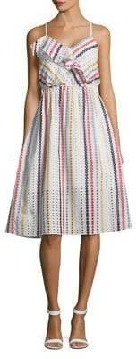 Shoshanna Optic Multicolored Cotton Midi Dress