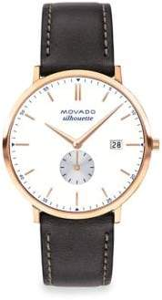 Movado Heritage Silhouette Rose Goldplated Stainless Steel& Leather Strap Watch