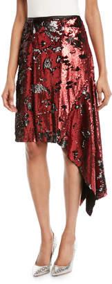 Marques Almeida Marques'almeida Tie-Waist Sequin Asymmetric Skirt