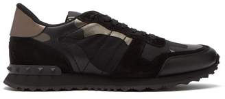 Valentino Rockstud Runner Camo Leather And Canvas Trainers - Mens - Black