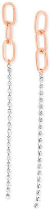 Steve Madden Two-Tone Link & Crystal Linear Drop Earrings
