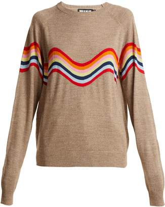 House of Holland Cut-out wave-pattern wool-blend sweater
